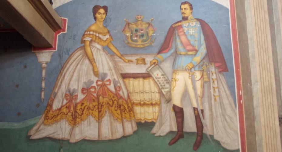 Domnitorul Al. I. Cuza și Doamna Elena        (Pictură în biserică)